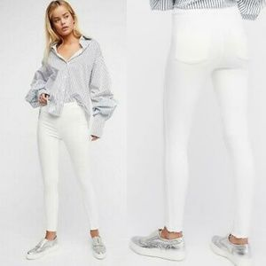 Free People White High Waisted Raw Hem Skinny Jean